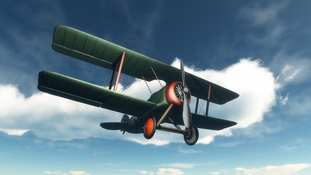 wright: Biplane flying in the blue cloudy sky - 3D render
