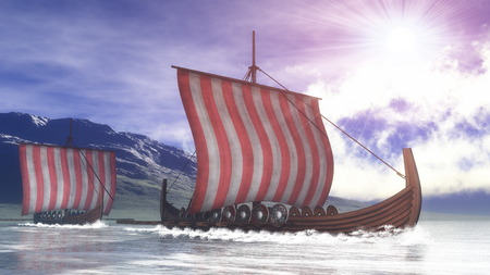ancient ships: Drakkars on the water next to the coast by day - 3D render