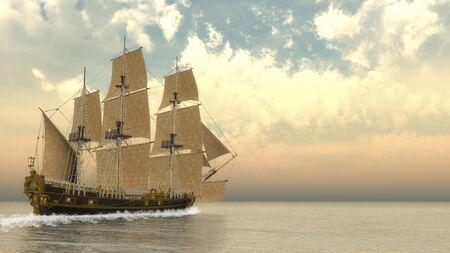 3d sail boat: Beautiful detailed old ship HSM Victory floating on the ocean by cloudy day - 3D render
