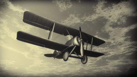 夕焼け曇り空、ビンテージ スタイル - 3 D で飛ぶ複葉機をレンダリングします。