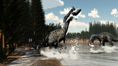 next day: Two suchomimus dinosaurs fishing fish and shark next to calamite and pachypteris plants by day - 3D render
