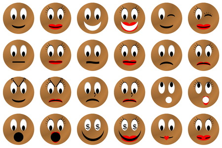 feeling good: Brown male and female emoticons set or collection isolated in white background Stock Photo