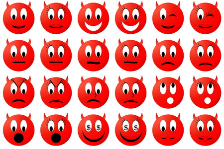 female devil: Red male and female devil emoticons set  or collection isolated in white background Stock Photo
