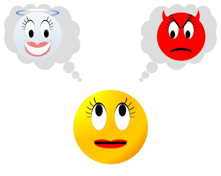 angry angel: Yellow neutral female smiley hesitating between angel and devil