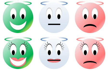 green face: Colorful happy, neutral and unhappy angel smiley, male and female
