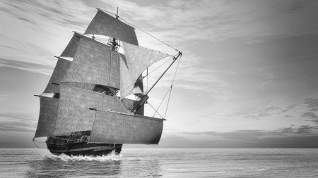 3d sail boat: Beautiful detailed old ship HSM Victory floating on the ocean by sunset, vintage style - 3D render Stock Photo