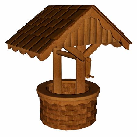 rural wooden bucket: Ancient wooden well isolated in white background - 3D render