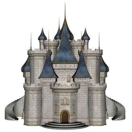 Hermoso detallada castillo azul y blanco aislado en el fondo blanco - 3D render Foto de archivo - 44284982