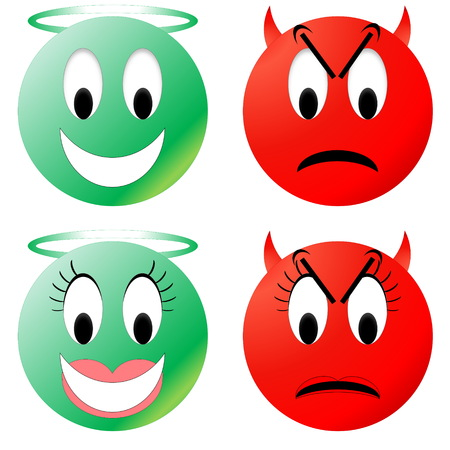 devil horns: Green angel and red devil smiley, male and female
