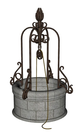 well: Ancient well made of stone and metal isolated in white background - 3D render