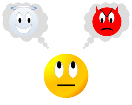 Yellow neutral smiley hesitating between angel and devil Stock Photo