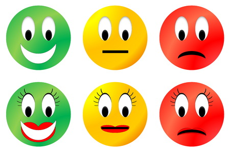 green and yellow: Colorful happy, neutral and unhappy smiley, male and female
