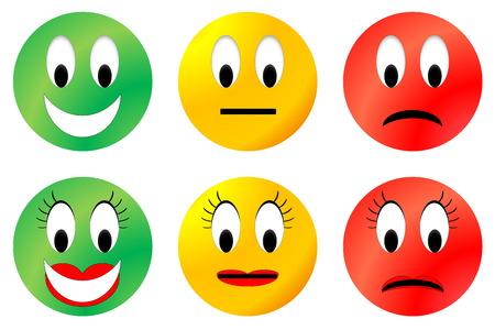 Smiley heureux, neutre et malheureux coloré, mâle et femelle