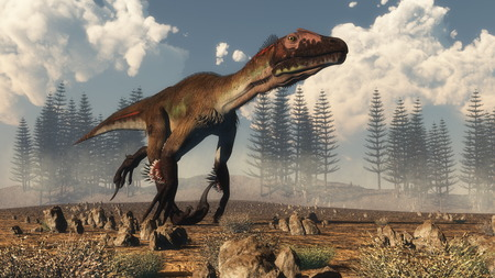 Utahraptor dinosaur running in the desert, calamite forest in the background - 3D render
