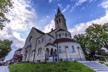 religious clothing: Saint-Jean-Baptiste catholic church, Romanshorn by day, Thurgau, Switzerland Stock Photo
