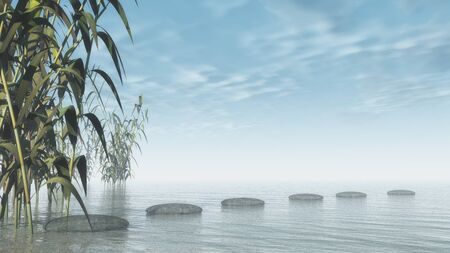 pebbles: Bamboos upon water next to pebbles - 3D render