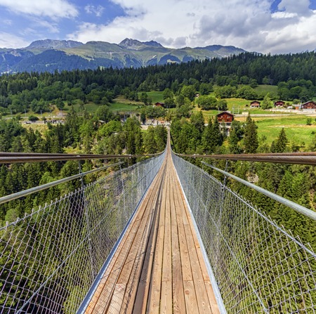 valais: Suspended bridge over Lama gorge and between Bellwald and Ernenin in Valais canton, Switzerland