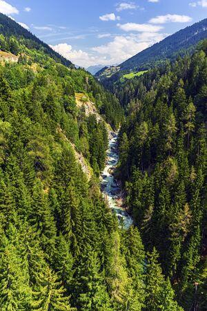 valais: Gorge de la Lama with Rhone river, Valais canton, Switzerland