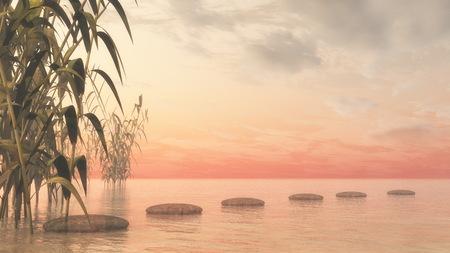 pebbles: Bamboos upon water next to pebbles by sunset - 3D render Stock Photo