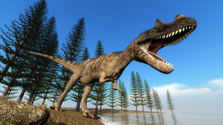 dinosaur: Ceratosaurus dinosaur roaring while walking at the shoreline in front of calamite trees by day - 3D render