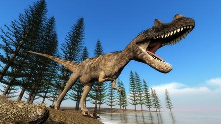 dinosaurio: Ceratosaurus dinosaurio del rugido mientras camina en la línea de la playa en frente de los árboles calamité a día - 3D render