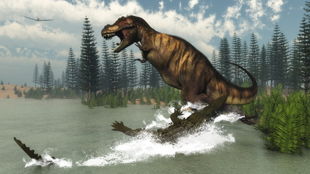 trex: Tyrannosaurus rex dinosaur attacked by deinosuchus crocodile near calamite trees and nipa plants by day - 3D render