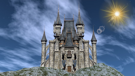 castle tower: Beautiful castle upon a rocky hill by day - 3D render Stock Photo