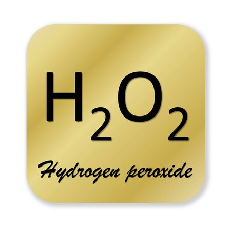 hydrogen: Golden chemical formula of hydrogen peroxide symbol isolated in white background
