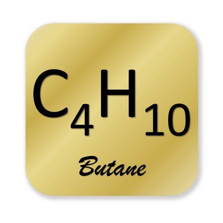 butane: Golden chemical formula of butane symbol isolated in white background Stock Photo