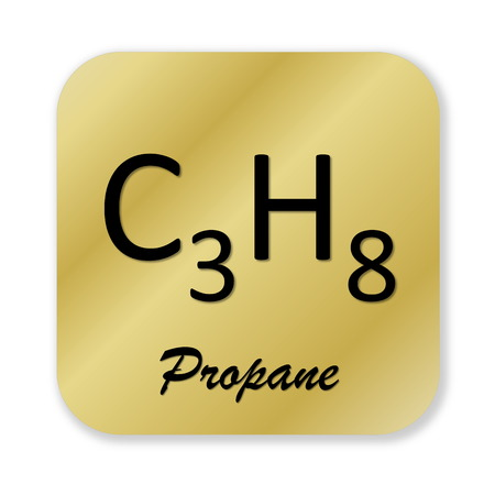 propane: Golden chemical formula of propane symbol isolated in white background