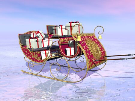 santa sleigh: Christmas Santa sleigh full of gifts by sunset - 3D render