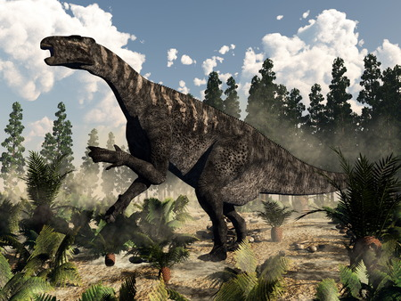 Iguanodon dinosaur roaring while walking among ferns, cycas and wollemia plants by day with clouds - 3D render