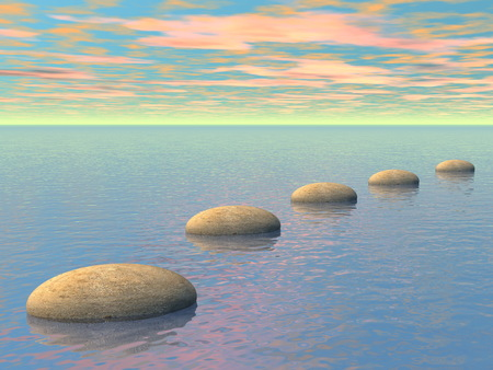 yoga rocks: Grey stones steps upon the ocean by sunset - 3D render