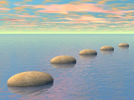 Grijze stenen stappen op de oceaan bij zonsondergang - 3D render