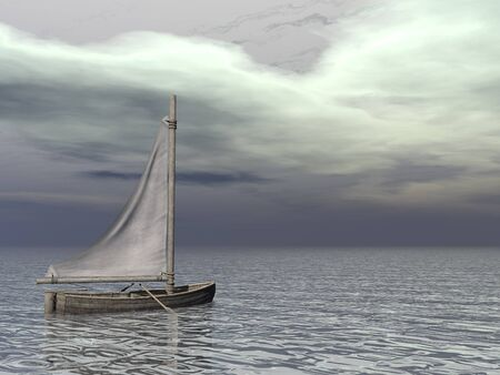 3d boat: Small sailing boat on the ocean by grey day - 3D render