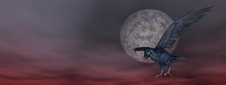 corvus: Black crow flying in front of the moon - 3D render