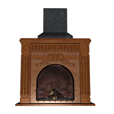 mantelpiece: Fireplace isolated in white background - 3D render