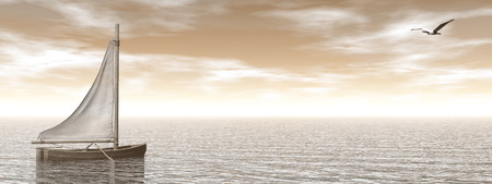 3d sail boat: Small sailing boat on the ocean by brown sunset - 3D render