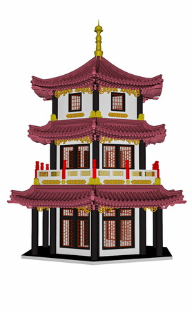 traditional illustration: Pagoda isolated in white background - 3D render