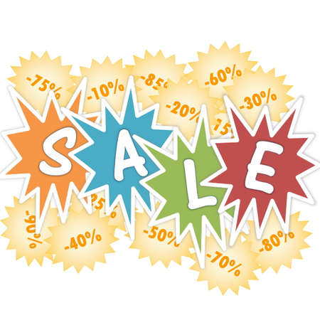 the percentage: Sale and percentage discounts in white background