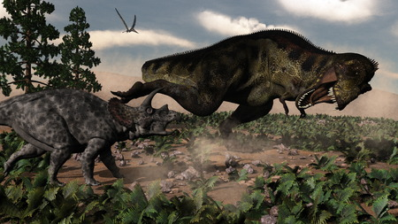herbivorous: Tyrannosaurus rex roaring at a triceratops and pteranodon flying in the sky  - 3D render Stock Photo