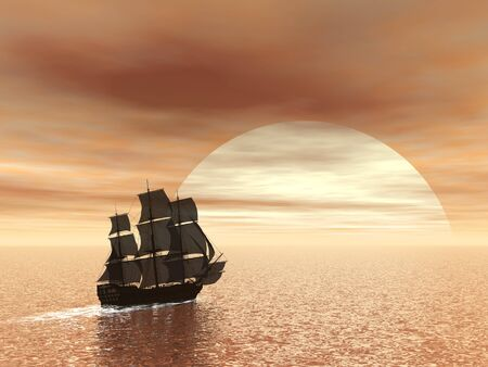 old ship: Beautiful old ship HSM Victory floating on the ocean by sunset - 3D render Stock Photo