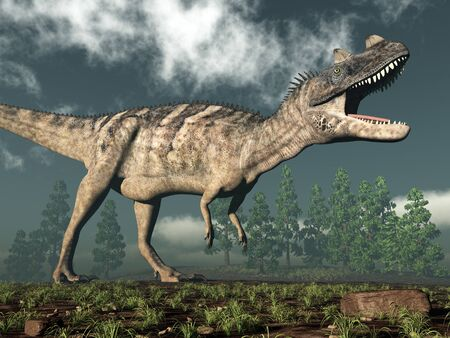 Ceratosaurus dinosaur roaring while walking - 3D render