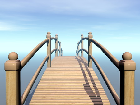 traverse: Wooden bridge leading to the blue sky - 3D render