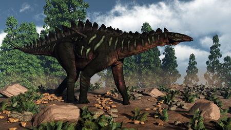 vertebrate: Miragaia dinosaur walking near wollemia pines by day - 3D render Stock Photo