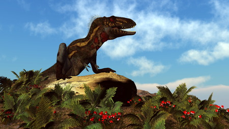 gigantic: Nanotyrannus dinosaur resting on a rock among red flowers and fern by day - 3D render Stock Photo
