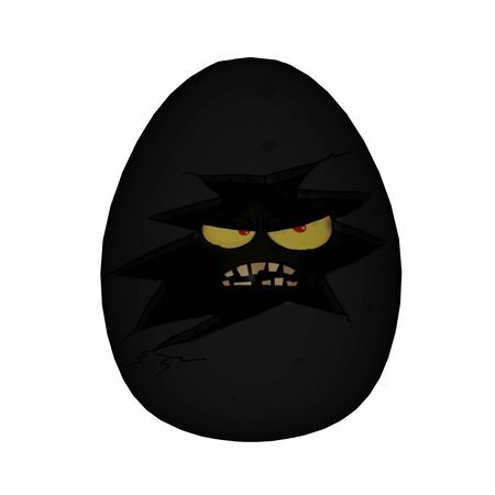 3d scary: Easter scary black egg with yellow eyes and angry face isolated in white background - 3D render