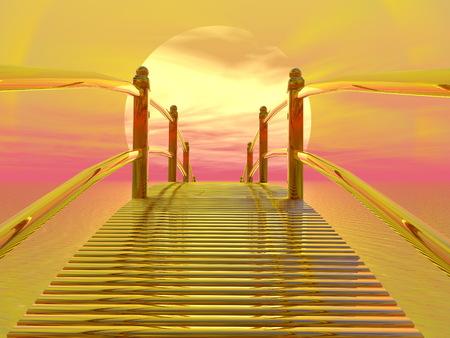crossover: Golden bridge leading to the sun - 3D render