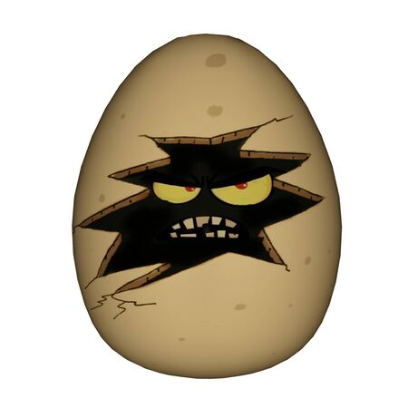 3d scary: Easter scary yellow egg with eyes and angry face isolated in white background - 3D render