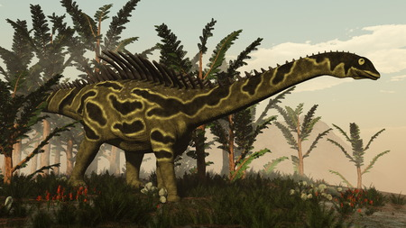 vegetation: Agustinia dinosaur walking among vegetation by day - 3D render